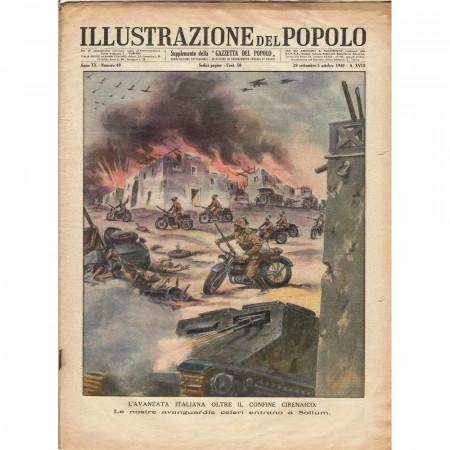 """1940 * Original Historical Magazine """"Illustrazione del Popolo (N°40) - Avanzata Italiana Confine Cirenaico"""""""