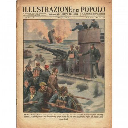 """1940 * Original Historical Magazine """"Illustrazione del Popolo (N°39) - Soldati Italiani Risparmiano Marinai Britannici"""""""