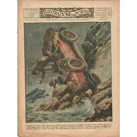 """1927 * Original Historical Magazine """"Illustrazione del Popolo (N°23) - Incidente Automobile Camicie Nere"""""""