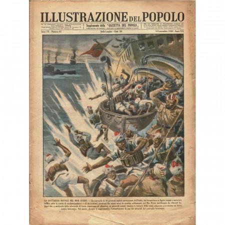 """1940 * Original Historical Magazine """"Illustrazione del Popolo (N°45) - Battaglia Navale nel Mar Rosso"""""""