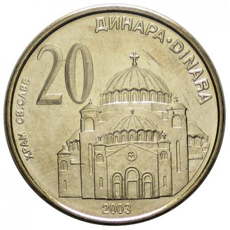 "2003 * 20 Dinara Serbia ""Temple of Saint Sava"" (KM 38) UNC"
