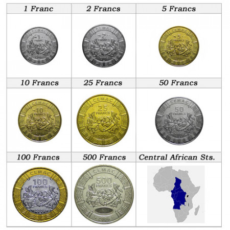 Mixed Years * Series 8 coins Central African States