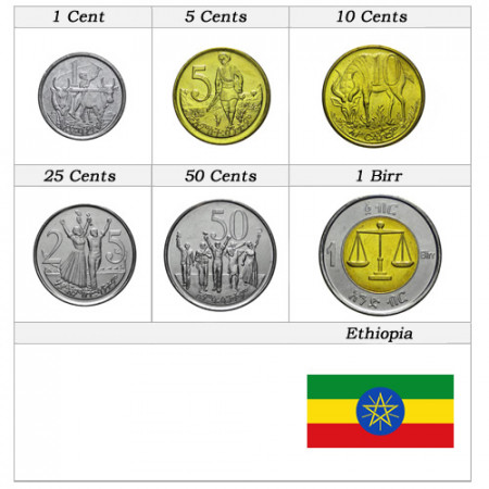 Mixed Years * Series 6 coins Ethiopia
