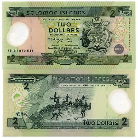 "2001 * Banknote Polymer Solomon Islands 2 Dollars ""25 Central Bank"" (p23) UNC"
