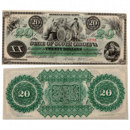 1872 * Banknote State of South Carolina 20 dollars EF