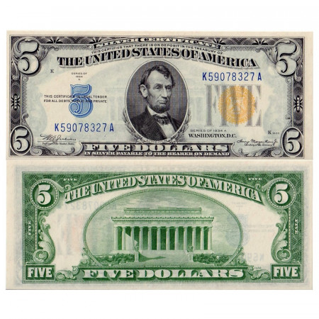 """1934 A * Banknote United States 5 Dollars North Africa """"Yellow Seal"""" UNC-"""