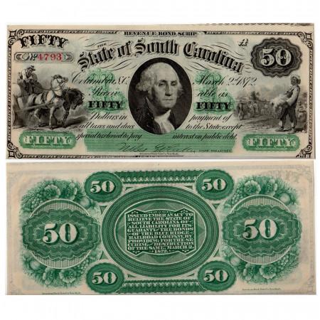 1872 * Banknote State of South Carolina 50 dollars VF+