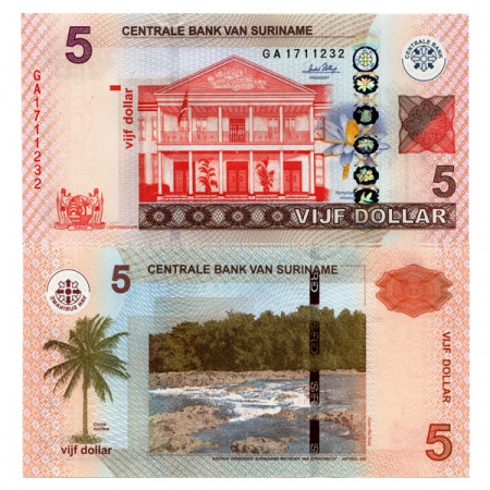 "2012 * Banknote Suriname 5 Dollars ""Central Bank"" (p162b) UNC"