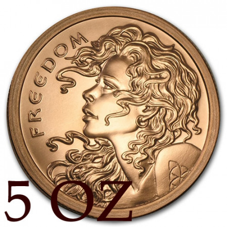 """2015 * Troy Ounce 5 OZ Copper Ounce """"United States - Freedom"""""""