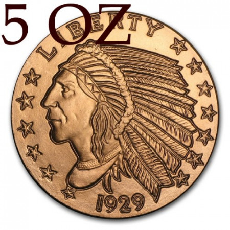 """2015 * Troy Ounce 5 OZ Copper Ounce """"United States - Indian Head"""""""