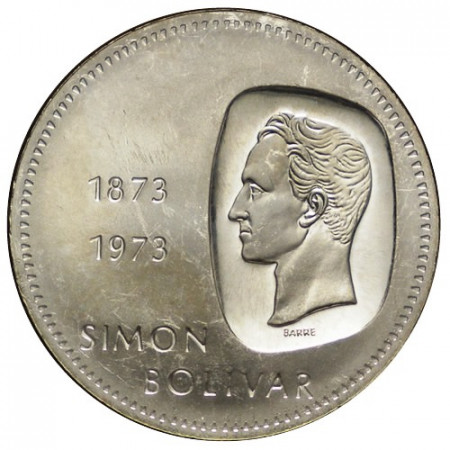 """1973 * 10 Silver Bolívares Venezuela """"100th Simón Bolívar"""" (Y 45) XF"""