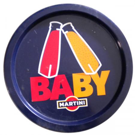 "Tray * Martini Metal Round Blue ""Baby"" Vintage Advertising"