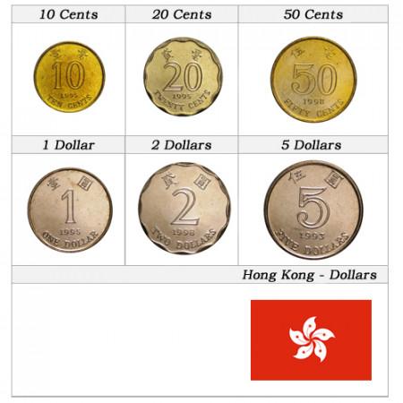 """Mixed Years * Series 6 Coins Hong Kong """"Dollars"""" UNC"""