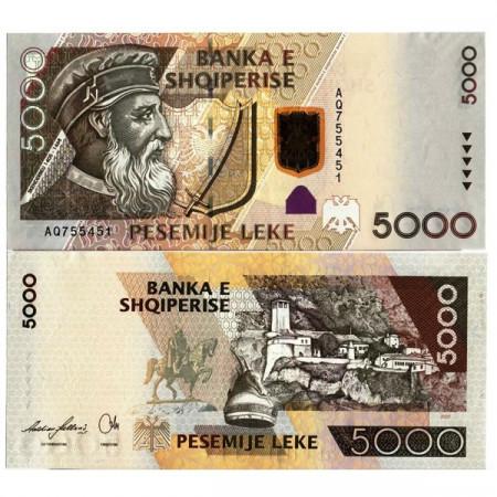 """2007 * Banknote Albania 5000 Leke """"Gjergi Kastrioti"""" (p75) aUNC"""