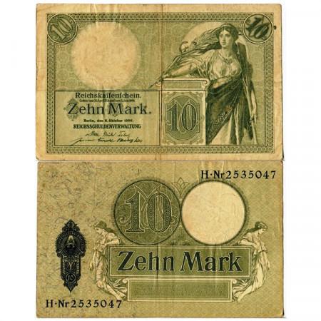 """1906 * Banknote Germany Empire 10 Mark """"Deutsches Reich"""" (p9b) VF"""