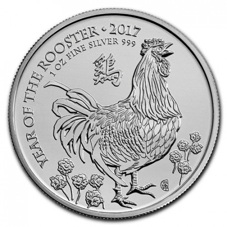 "2017 * 2 Pounds Silver 1 OZ Great Britain ""Year of the Rooster"" BU"