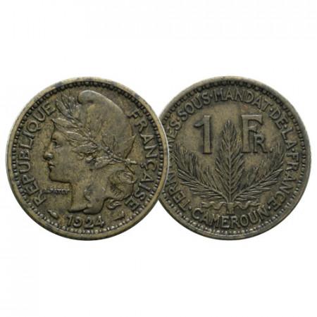 "1924 (a) * 1 Franc Cameroon ""French Mandate - Laureate Head"" (KM 2) XF"