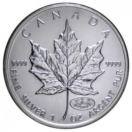 "2000 * 5 Dollars Silver 1 OZ Canada ""Maple Leaf - Fireworks"" UNC"