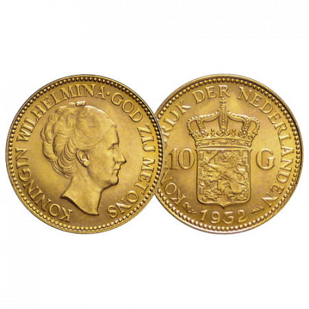 """1932 * 10 Gulden Napoleon Gold Netherlands """"Wilhelmina I"""" (KM 162) aUNC/UNC"""