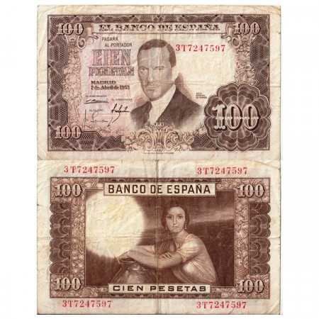 """1953 (1955) * Banknote Spain 100 Pesetas """"Julio Romero de Torres"""" (p145a) F+"""