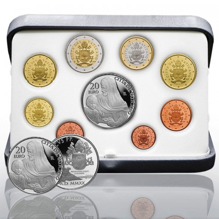 "2020 * VATICAN Official Coin Set Pope Francis 20 Euro SILVER ""Year VII"" PROOF"