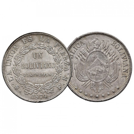 1874 * 1 Boliviano Silver Bolivia (KM 160.1) XF
