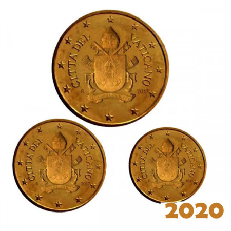 """2020 * Set VATICAN 50, 20, 10 Cents """"Coat of Arms of Pope Francis"""" Year VII BU"""