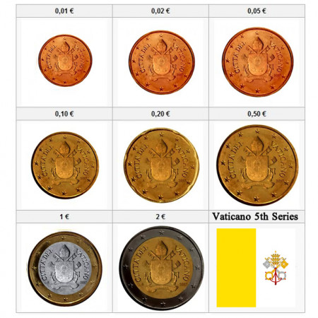 """2020 * Series 8 Coins Euro VATICAN """"Coat of Arms of Pope Francis"""" WITHOUT Folder Year VII"""