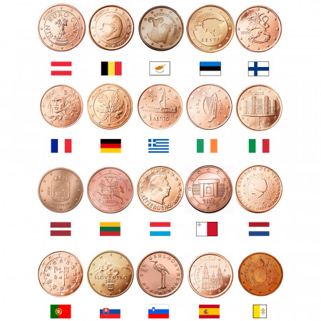 MIX * Lot 20 x 1 Cent Euro Austria -> Vatican City UNC