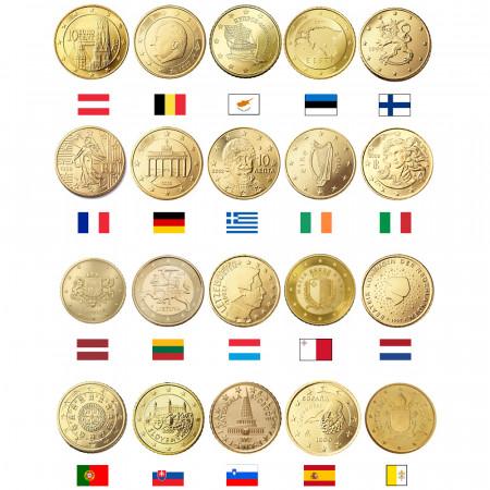MIX * Lot 20 x 10 Cents Euro Austria -> Vatican City UNC