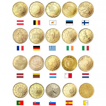 MIX * Lot 20 x 20 Cents Euro Austria -> Vatican City UNC