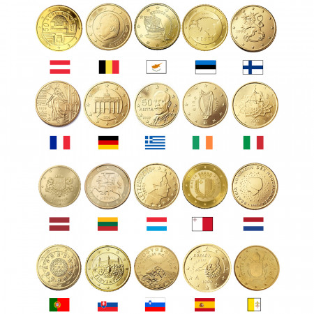MIX * Lot 20 x 50 Cents Euro Austria -> Vatican City UNC