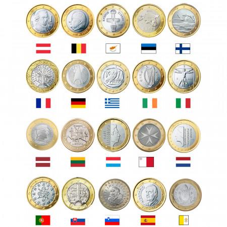 MIX * Lot 20 x 1 Euro Euro Austria -> Vatican City UNC
