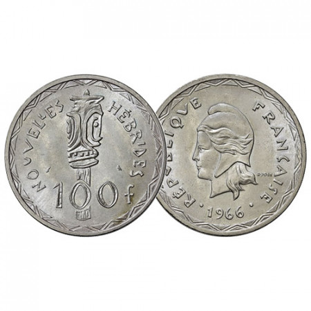 "1966 (a) * 100 Francs Silver New Hebrides ""French-British Condominium - Liberty Head"" (KM 1) UNC"