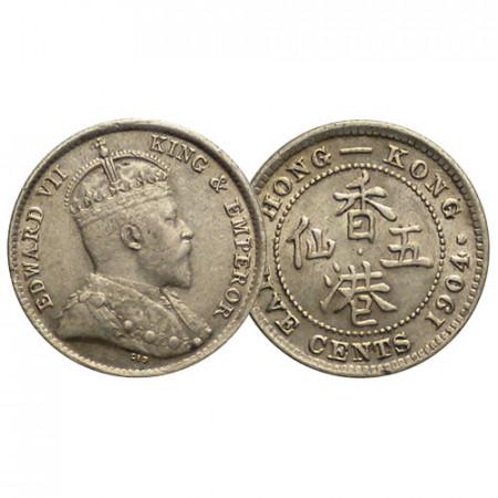 """1904 * 5 Cents Hong Kong """"Edward VII"""" (KM 12) XF+"""