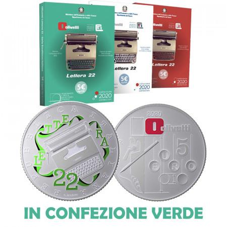 "2020 * 5 Euro Silver ITALY  ""Excellence - Olivetti Lettera 22 - GREEN"" BU"
