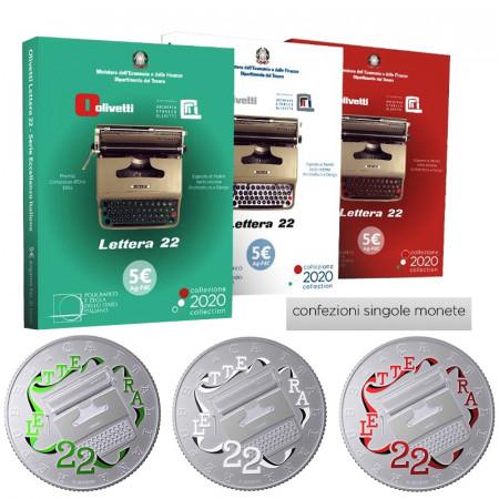 """2020 * TRIO 3 x Silver 5 Euro ITALY """"Excellence - Olivetti Lettera 22"""" BU"""