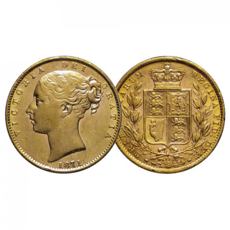 """1869 * 1 Sovereign Gold Great Britain """"Victoria – Crowned Arms Numbered"""" Die N.21 (KM 736.2) XF+"""