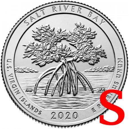 """2020 * Quarter Dollar (25 Cents) United States """"National Park - Salt River Bay, Virgin Islands"""" S UNC"""