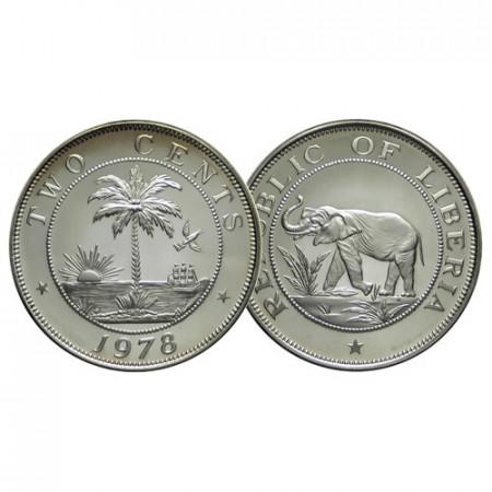 """1978 FM * 2 Cents Liberia """"Elephant - Palm Tree"""" (KM 12a) PROOF"""