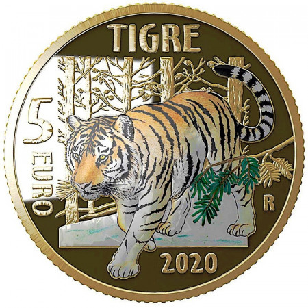 """2020 * 5 Euro ITALY """"Endangered Animals - Tiger"""" COLORED PROOF"""