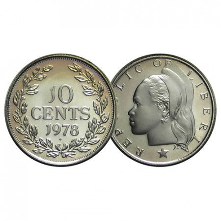 "1978 FM * 10 Cents Liberia ""Woman Head"" (KM 15a.2) PROOF"