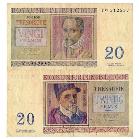 """1956 * Banknote Belgium 20 Francs """"R de Lassus"""" (p132b) F"""