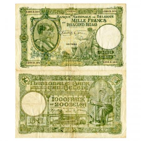 1940 * Banknote Belgium 1000 Francs - 200 Belgas (p110) VF