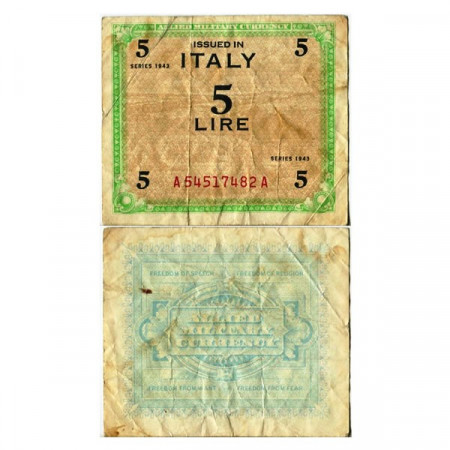 """1943 * Banknote Italy 5 AM Lire """"Allied Military Currency"""" (A 1108 pM12a) F"""