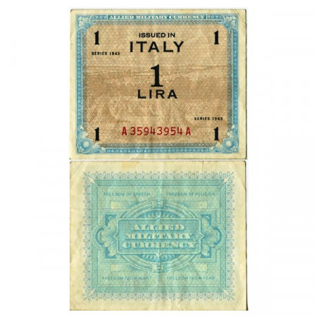 """1943 * Banknote Italy 1 AM Lira """"Allied Military Currency"""" (A 1100 pM10b) VF+"""