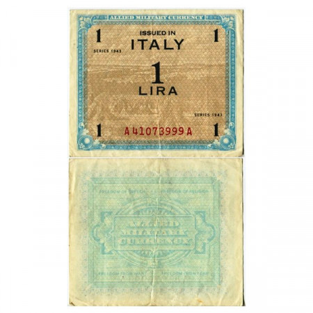 """1943 * Banknote Italy 1 AM Lira """"Allied Military Currency"""" (A 1101 pM10a) VF"""