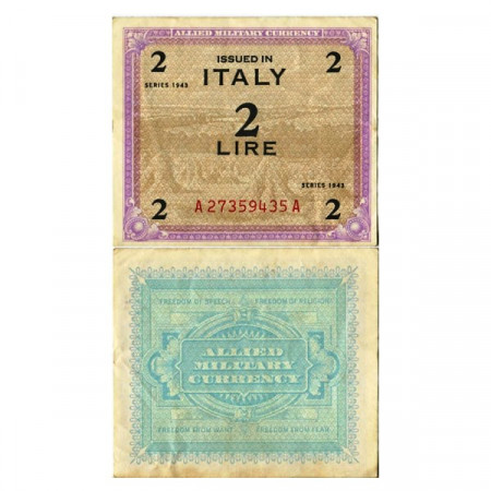 """1943 * Banknote Italy 2 AM Lire """"Allied Military Currency"""" (A 1104 pM11b) XF"""