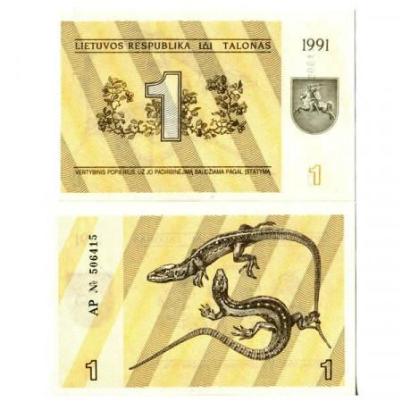 "1991 * Banknote Lithuania 1 Talonas ""Lizards"" (p32b) UNC"