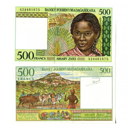 """ND (1994) * Banknote Madagascar 500 Francs = 100 Ariary """"Herdsmen"""" (75a) UNC"""